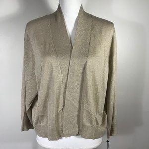 Calvin Klein Brown Metallic Open Front Sweater